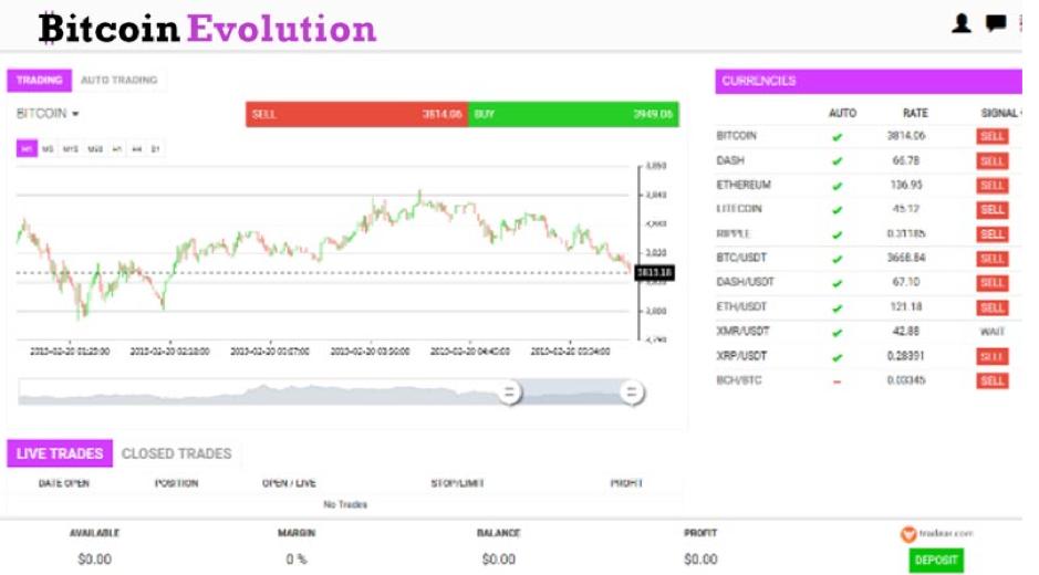 Bitcoin Evolution interface